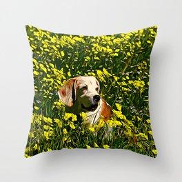 beagle dog flower field vector art Throw Pillow