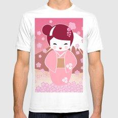 Sakura Japanese Doll Kokeshi Mens Fitted Tee White MEDIUM
