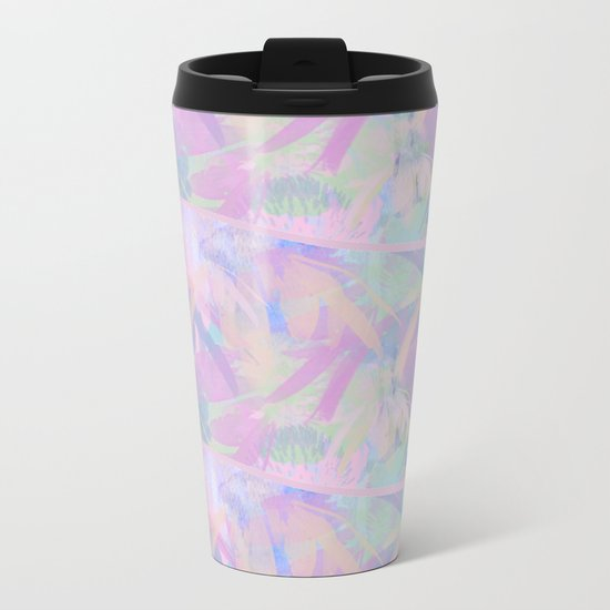 Painterly Soft Floral Waves Abstract Metal Travel Mug