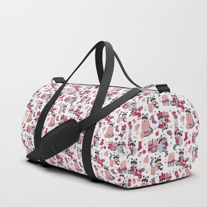 Hygge raccoon // white background Duffle Bag