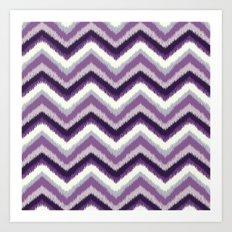 Ikat Chevron: Purple Tonal  Art Print