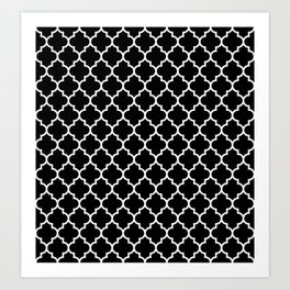 White Moroccan Quatrefoil On Darkest Black Art Print
