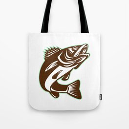 Walleye Fish Jumping Isolated Retro Tote Bag