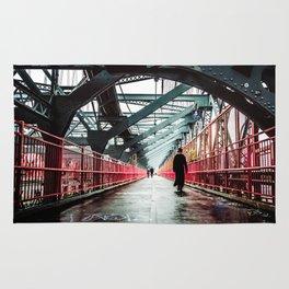 New York City Williamsburg Bridge in the Rain Rug