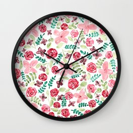 Colorful Watercolor // Hand Painted // Watercolor Flower and Leaves Wall Clock