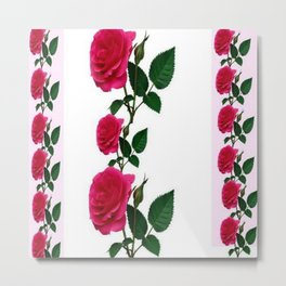 PATTERNED DECORATIVE RED ROSES  WHITE ART Metal Print