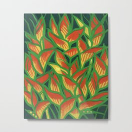 Lobster Claw / Heliconia Rostrata, tropic flowers, green, yellow & orange Metal Print