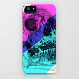 Skull pencil drawing with colour iPhone Case