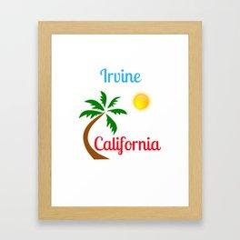 Irvine California Palm Tree and Sun Framed Art Print