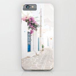 Beautiful Street Scene in Paros, Greece iPhone Case