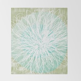 Doodle Flowers in Mint by Friztin Throw Blanket