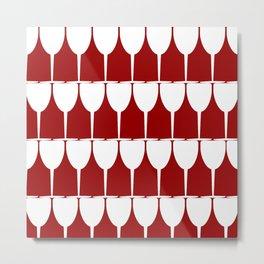 Vino - White on Red Metal Print