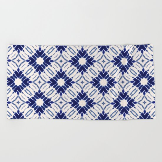 Watercolor Shibori Blue Beach Towel