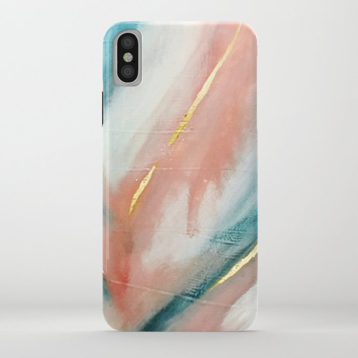 celestial [3]: a minimal abstract mixed-media piece in pink, blue, and gold by alyssa hamilton art iphone case