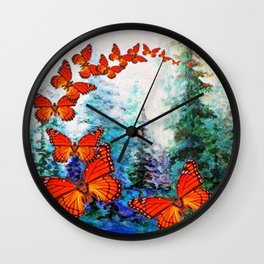 ORANGE MONARCH BUTTERFLIES FOREST MIGRATION Wall Clock