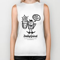 coffe Biker Tanks featuring Daily Grind Coffe Shop by Gnarleston