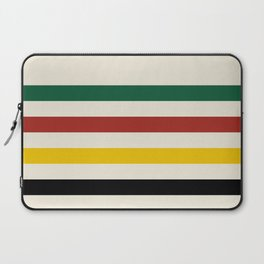 Rustic Lodge Stripes Black Yellow Red Green Laptop Sleeve