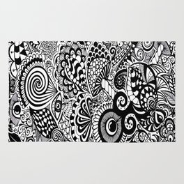 Mushy Madness doodle art Black and White Rug