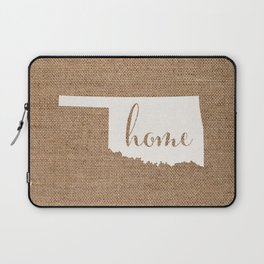 Oklahoma is Home - White on Burlap Laptop Sleeve