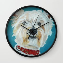 Jesse the Beautiful West Highland White Terrier Dog Portrait Wall Clock