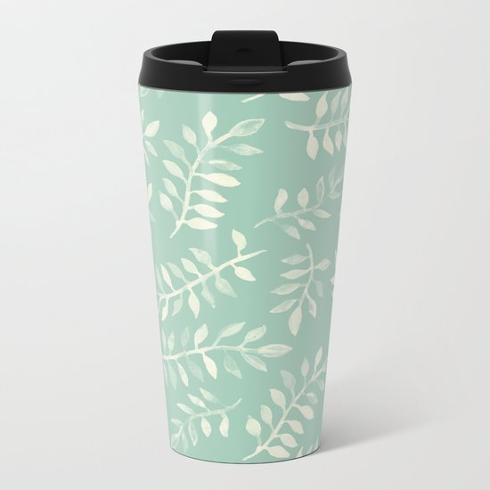 Painted Leaves - a pattern in cream on soft mint green Metal Travel Mug