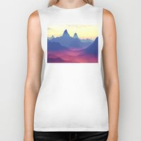 ashton irwin Biker Tanks featuring Mountains of Another World by Phil Perkins