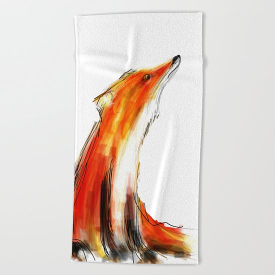 Wise Fox Reverse Beach Towel