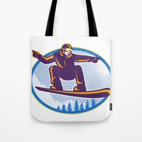 snowboard Tote Bags featuring Snowboarder Holding Snowboard Retro by patrimonio