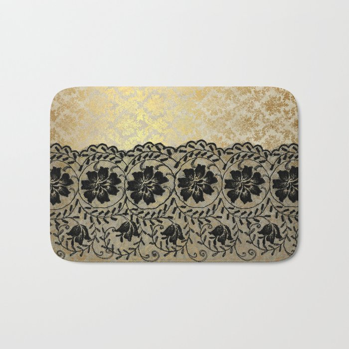 Black floral luxury lace on gold damask pattern Bath Mat