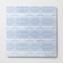 Lace Inspired Elegant Pattern - Blue and White Metal Print