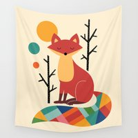 kevin russ Wall Tapestries featuring Rainbow Fox by Andy Westface