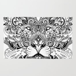 Black And White Geometric pattern mandala lion face Rug