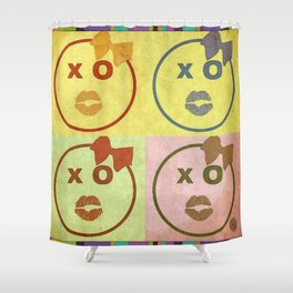 Kissy Lovey Face Grunge Shower Curtain