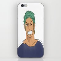 one piece iPhone & iPod Skins featuring One Piece: Roronoa Zoro by ZINA