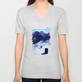 Tardis Art At The Snow Mountain Unisex V-Neck