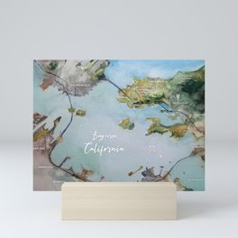 SF, San Francisco, Oakland, Bay Area, California Watercolor Map Art Mini Art Print