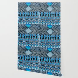 V32 Boho Blue Traditional Moroccan Carpet. Wallpaper