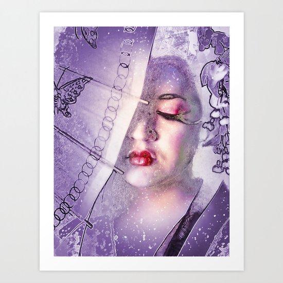 The Geisha With White Hair Art Print