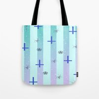 pastel goth Tote Bags featuring Pastel Goth Pattern by HaruShadows