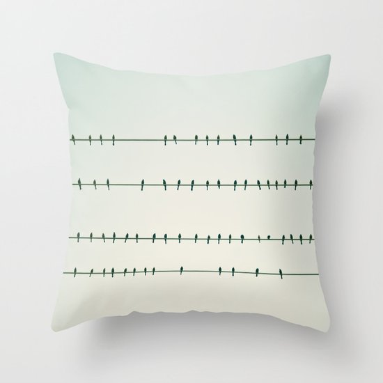 Birds on Four Wires  Throw Pillow