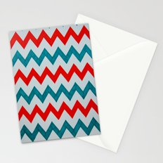 Red and Teal Chevron  Stationery Cards
