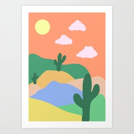 Orange Desert Scene Art Print