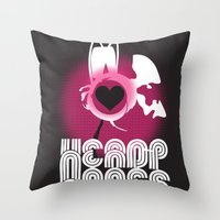 headphones Throw Pillows featuring ♥ HEADPHONES by THE SILENT P // Matthew Pfahlert