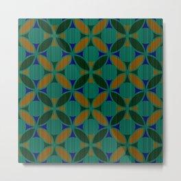 Geometric Floral Circles Textured Stripe Green Orange and Blue Metal Print