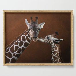 Love You - Affectionate Giraffes Serving Tray