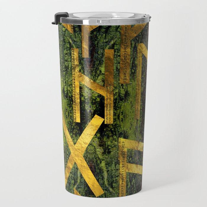Vintage Gold Runic alphabet on tree bark Travel Mug