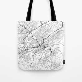 Knoxville Map, USA - Black and White Tote Bag