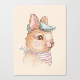 Bunny With Hat Canvas Print