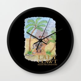 Lady Clawt, ready for adventure Wall Clock
