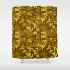 Green and Yellow Desert Army Camo pattern Shower Curtain